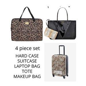 4 pc SET VS PINK leopard suitcase laptop tote bag